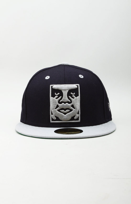 Icon Face NE Fitted Hat - Navy/Grey