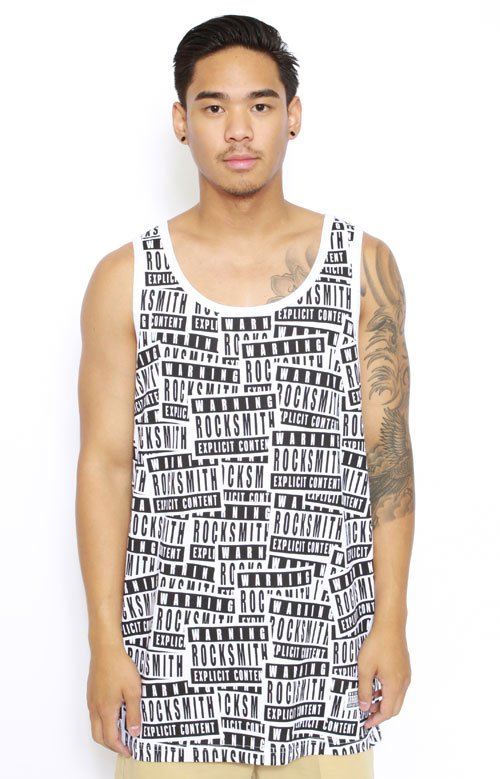Explicit Scatter Tank Top - White
