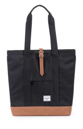 Herschel Clothing, Market Bag - Black/Tan Synthetic Leather