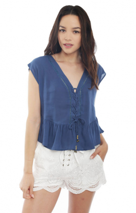 MinkPink Clothing, Jupiters Shadow Lace Up Blouse