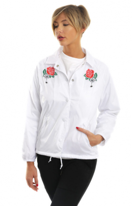 Obey Womens Clothing, Spider Rose Coaches Jacket - White