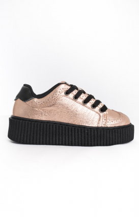 T.U.K. Clothing, Suede Casbah Creeper - Rose Gold