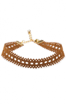 Vanessa Mooney Clothing, Camel Suede Cut-Out Choker