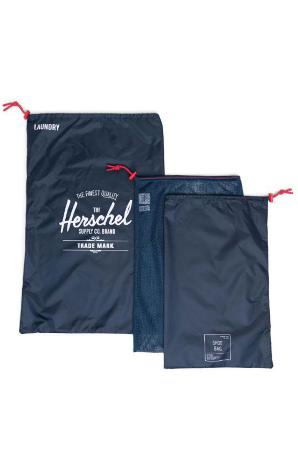 Laundry / Shoe Bag Set - Navy/Red