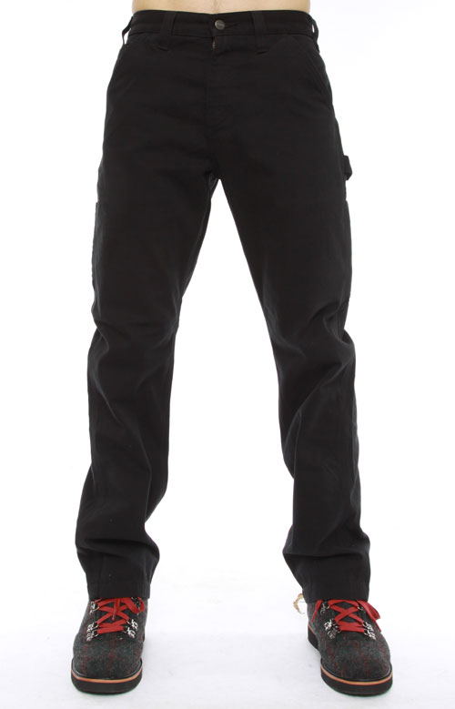 (B324) Washed Twill Dungarees - Black 2