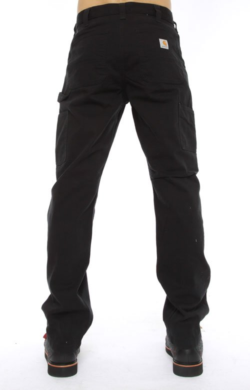 (B324) Washed Twill Dungarees - Black 3