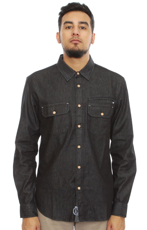 6a3350564ca Black Denim Button-Up Shirt