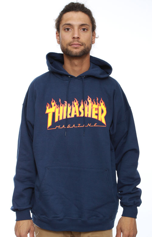 Flame Logo Pullover Hoodie - Navy Blue