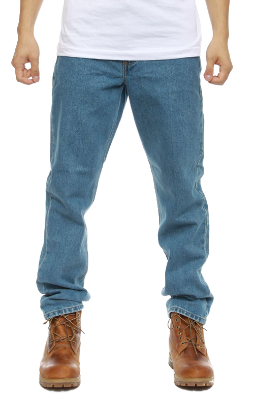 (B18) Straight/Traditional Fit Tapered Leg Jeans - Stonewash