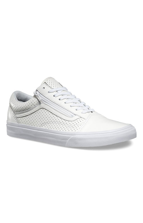 (18GGZO) Old Skool Zip Shoe - Perforated Leather White 3