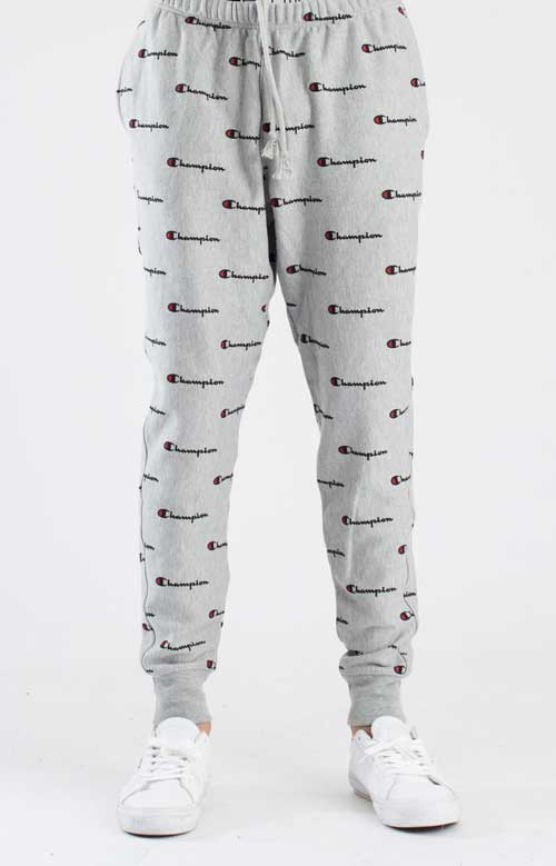 Reverse Weave French Terry All Over Print Sweatpants - Grey 5