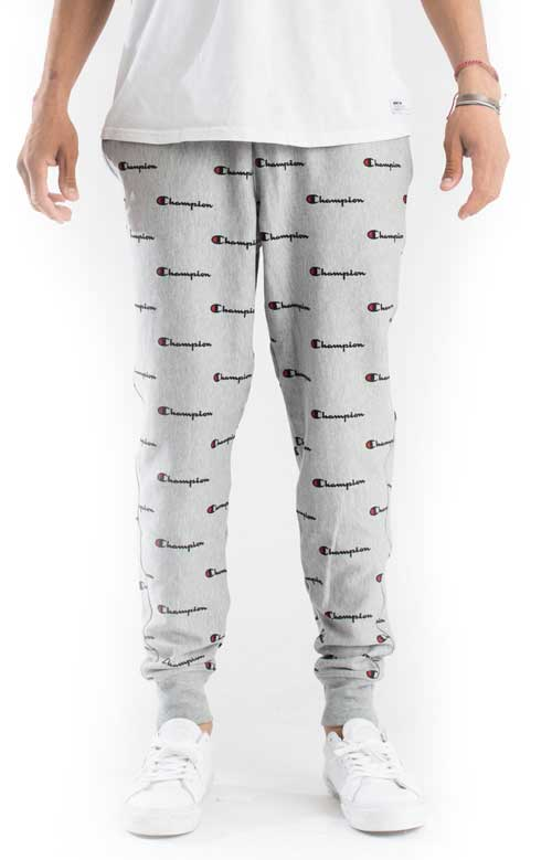 Reverse Weave French Terry All Over Print Sweatpants - Grey