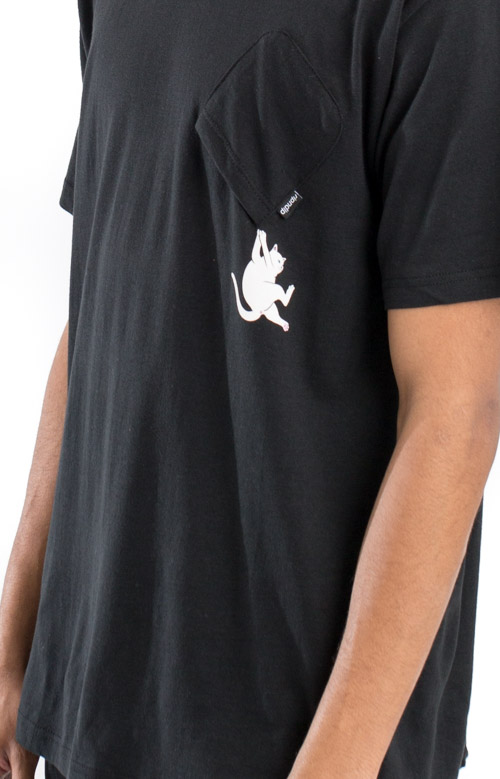Hang In There Nermal Pocket T-Shirt - Black 3