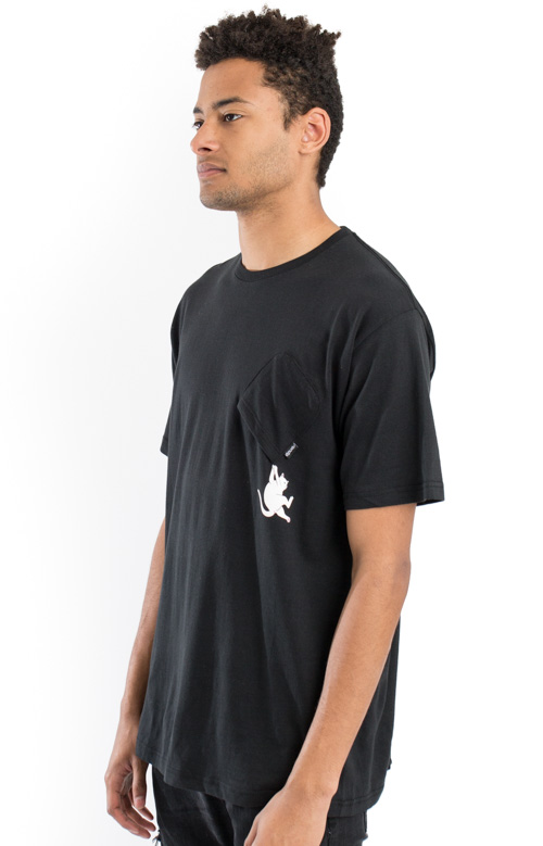 Hang In There Nermal Pocket T-Shirt - Black 2