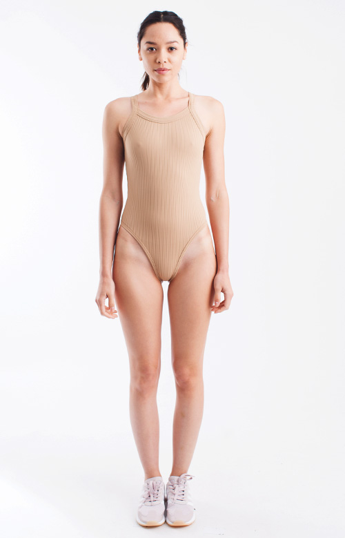 New Ribbed Body Suit - Tan