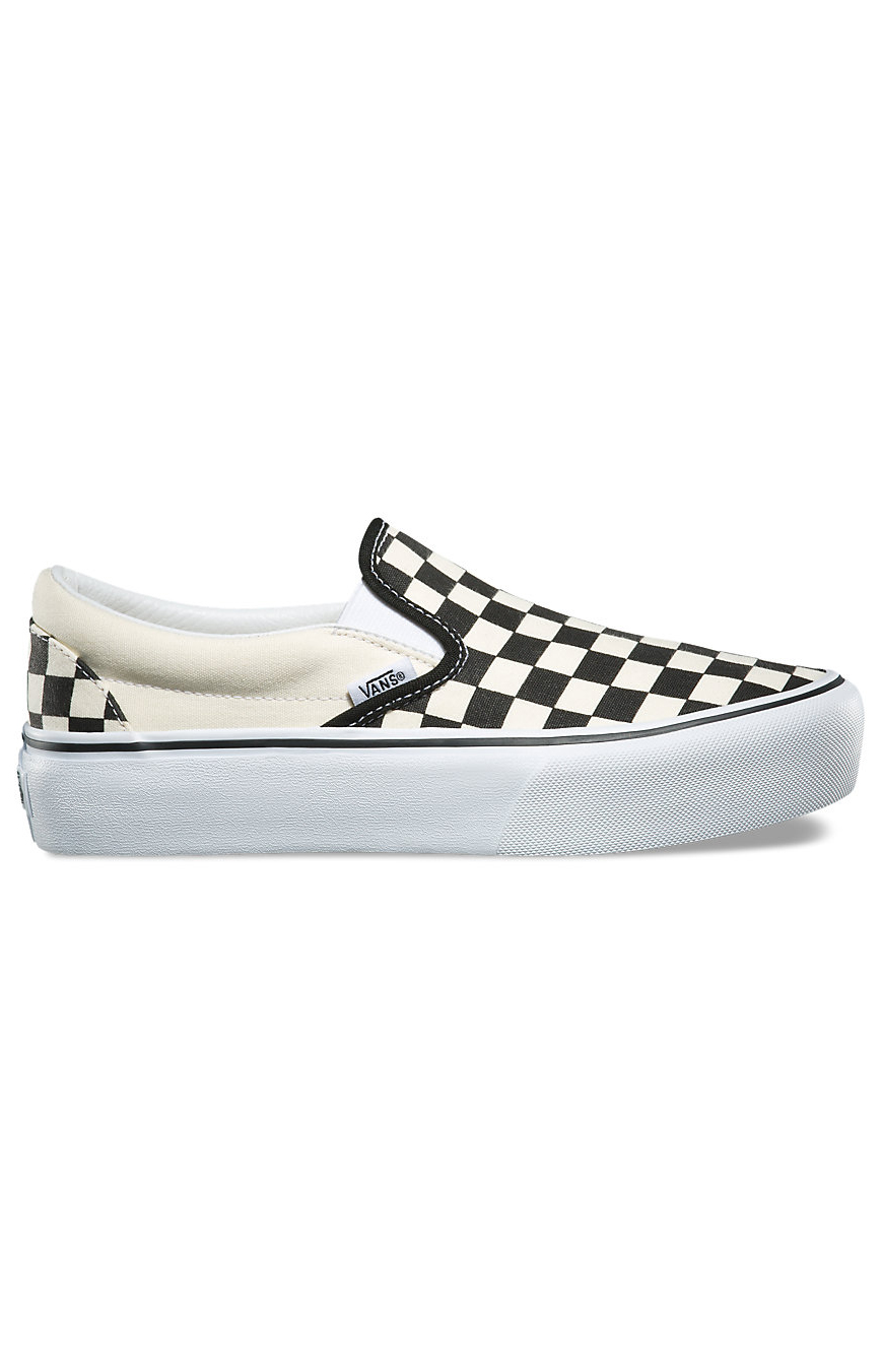 Checkerboard Platform Slip-On Shoe - Black/Off White Check