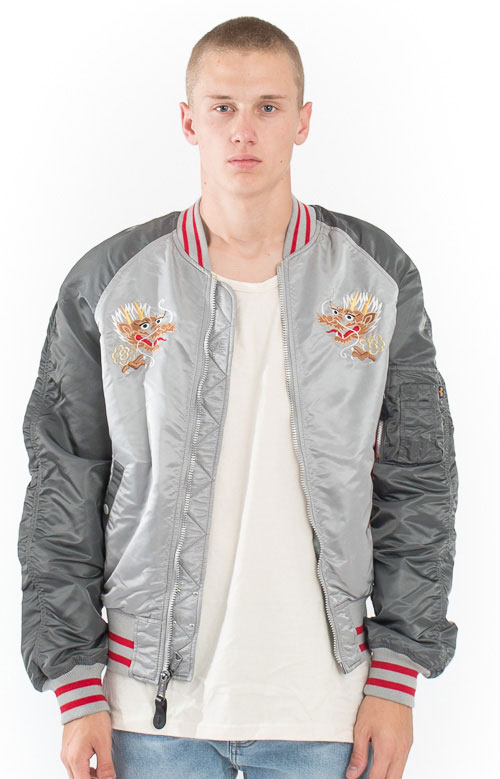 MA-1 Souvenir Double Dragon Jacket - New Silver/Silver Blue