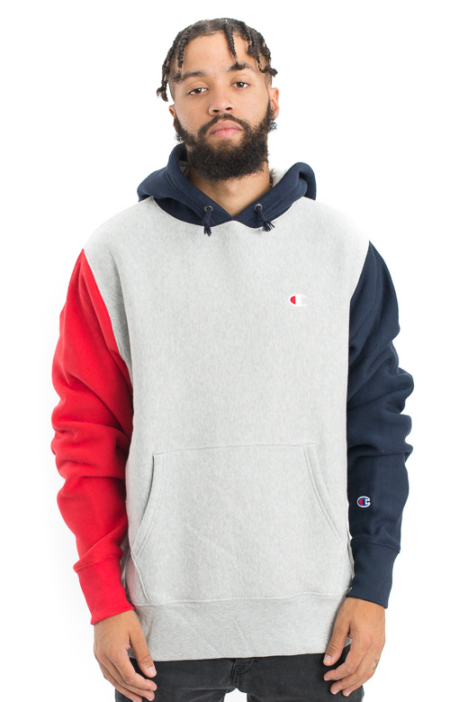 0191d7965d8f Reverse Weave Colorblock Pullover Hoodie - Grey Navy Red