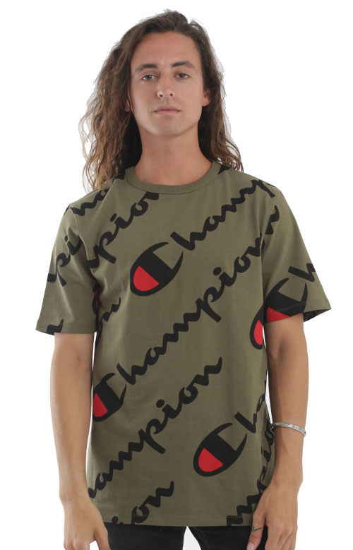 22ebcf6f Champion LIFE, Heritage Exploded Script All Over T-Shirt - Olive | MLTD