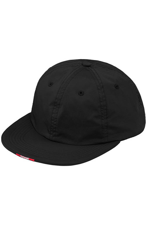 Nylon Visor Label 6 Panel Hat - Black