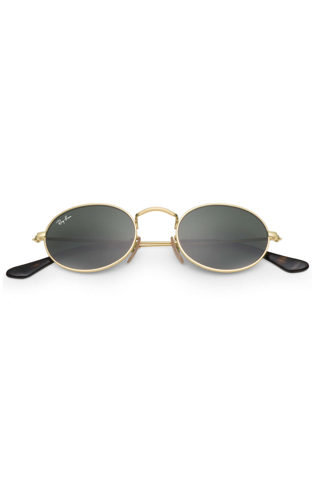 (001) Oval Sunglasses - Black/Gold Oval 2