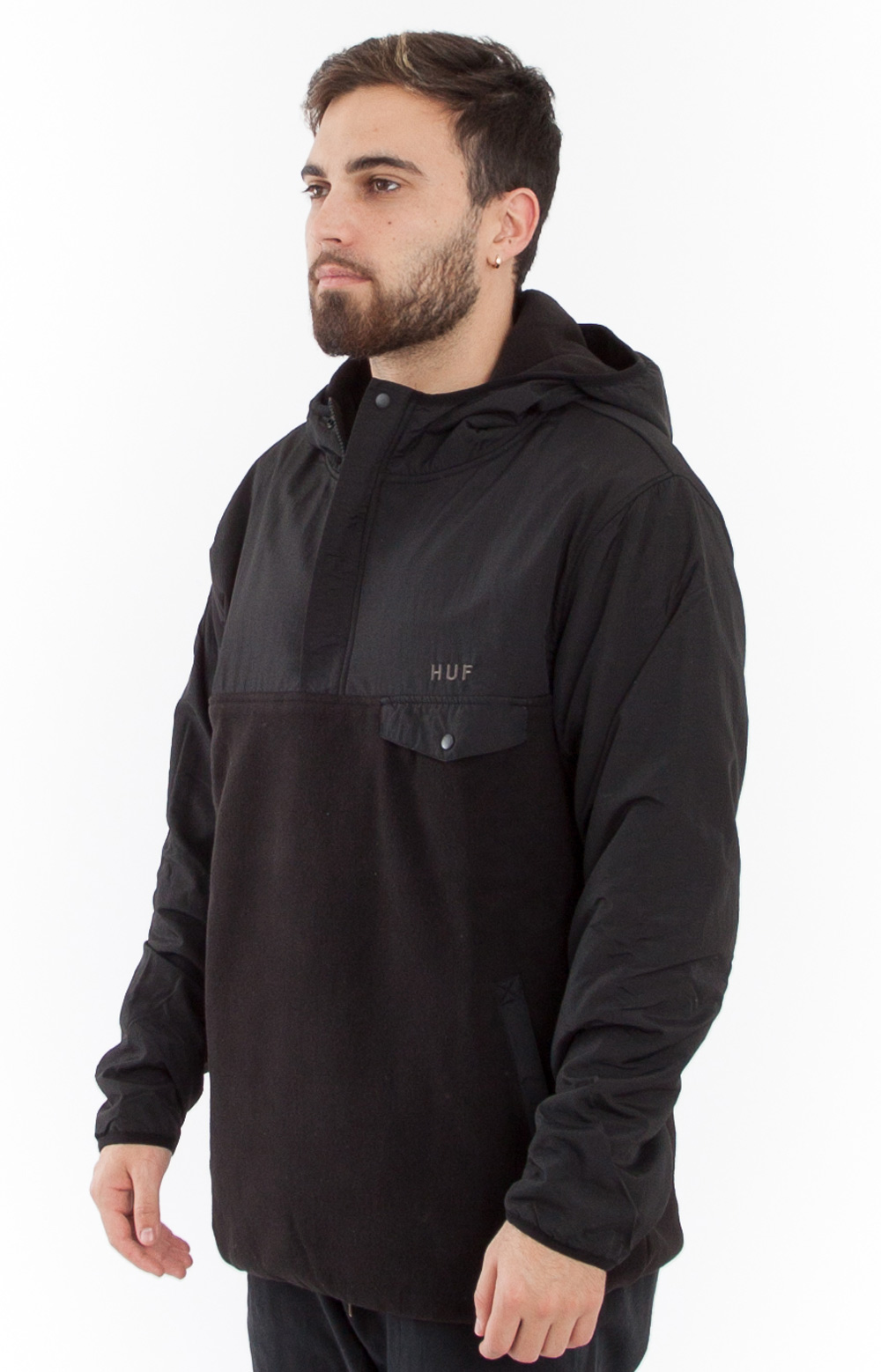 Huf, Muir Hooded Pullover Jacket - Black - HUF - MLTD