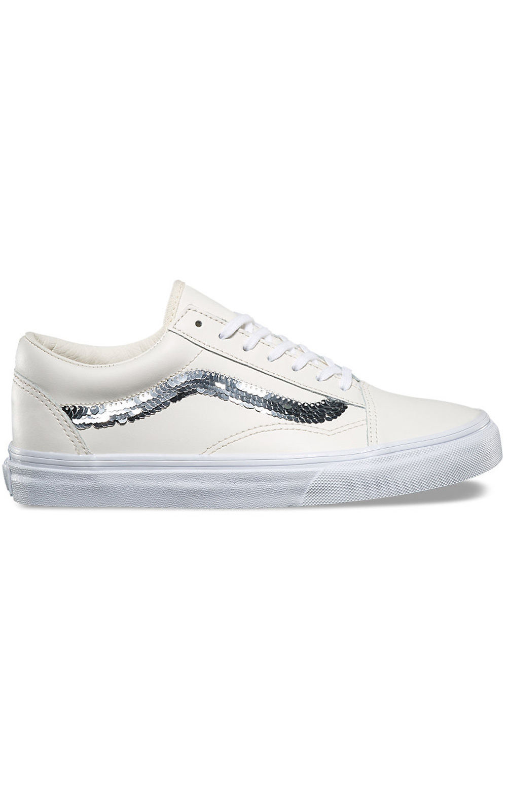 (8G1QVY) Old Skool Shiny Sequins Shoe - Marshmallow