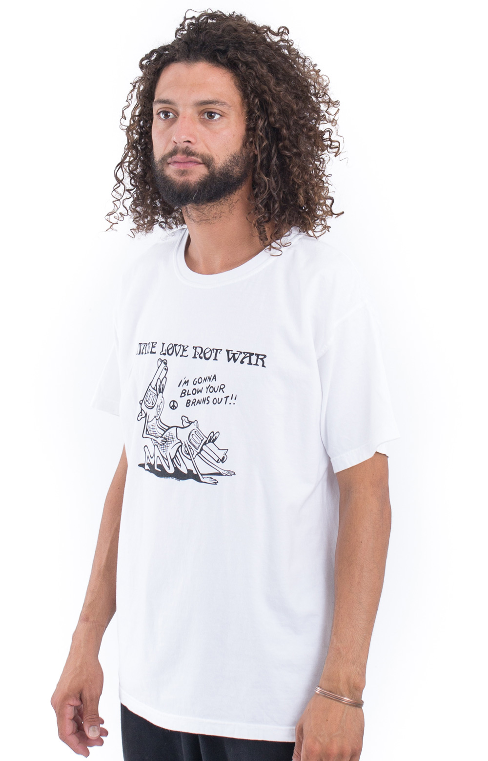 Make Love Not War T-Shirt - White  2