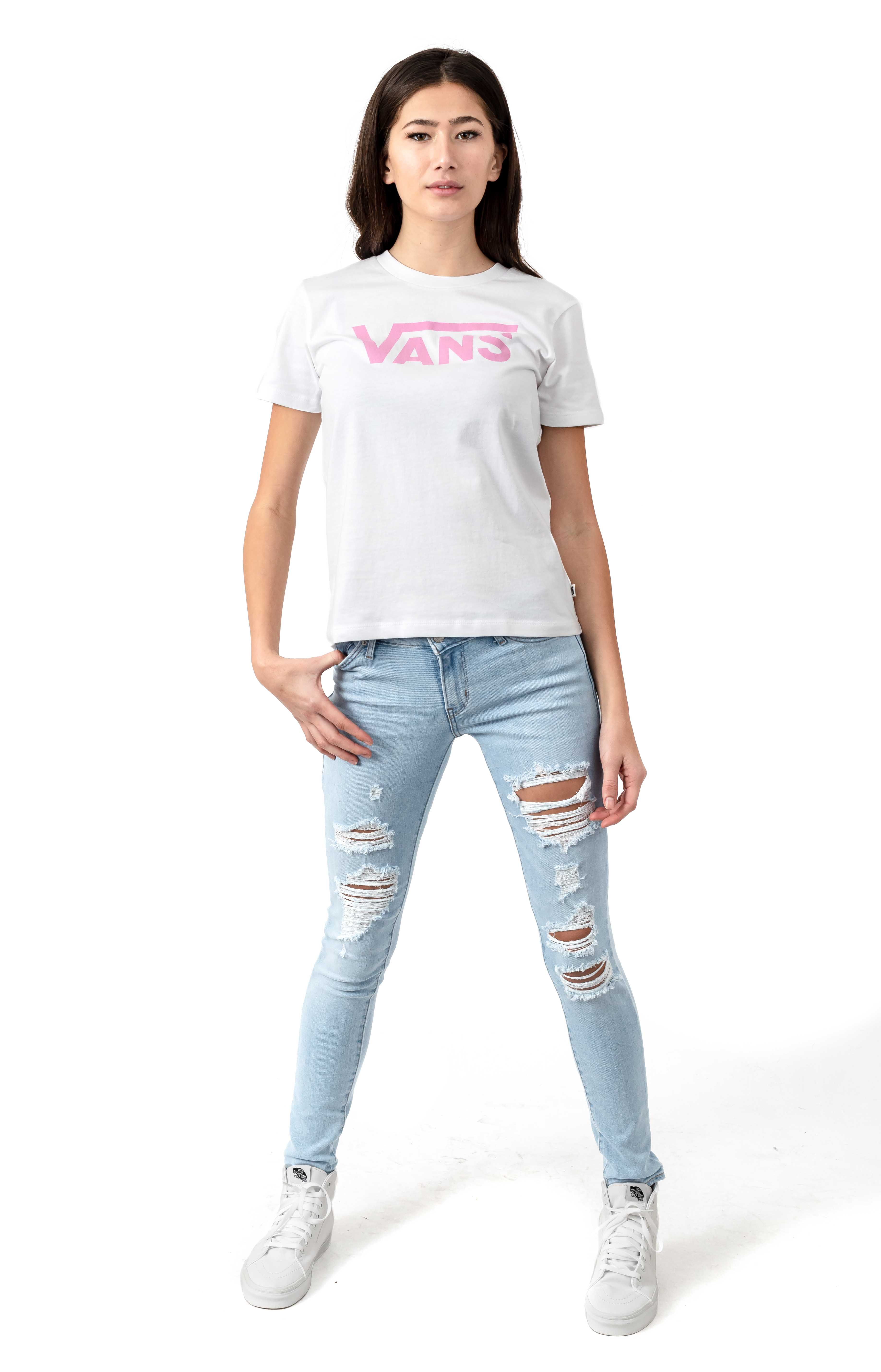Flying V T-Shirt - White/Fuchsia  4