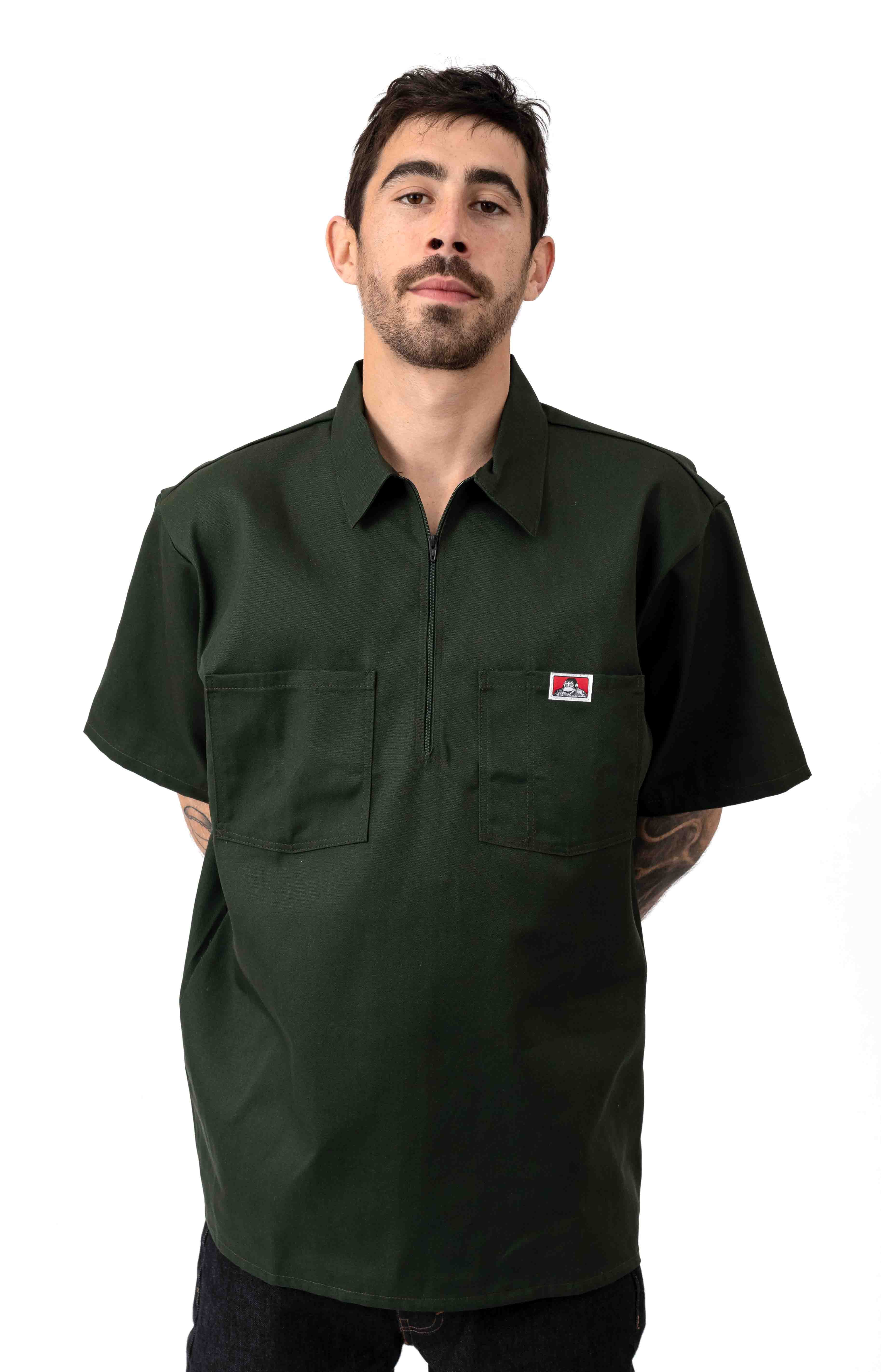 Short Sleeve Solid 1/2 Zip Shirt - Olive