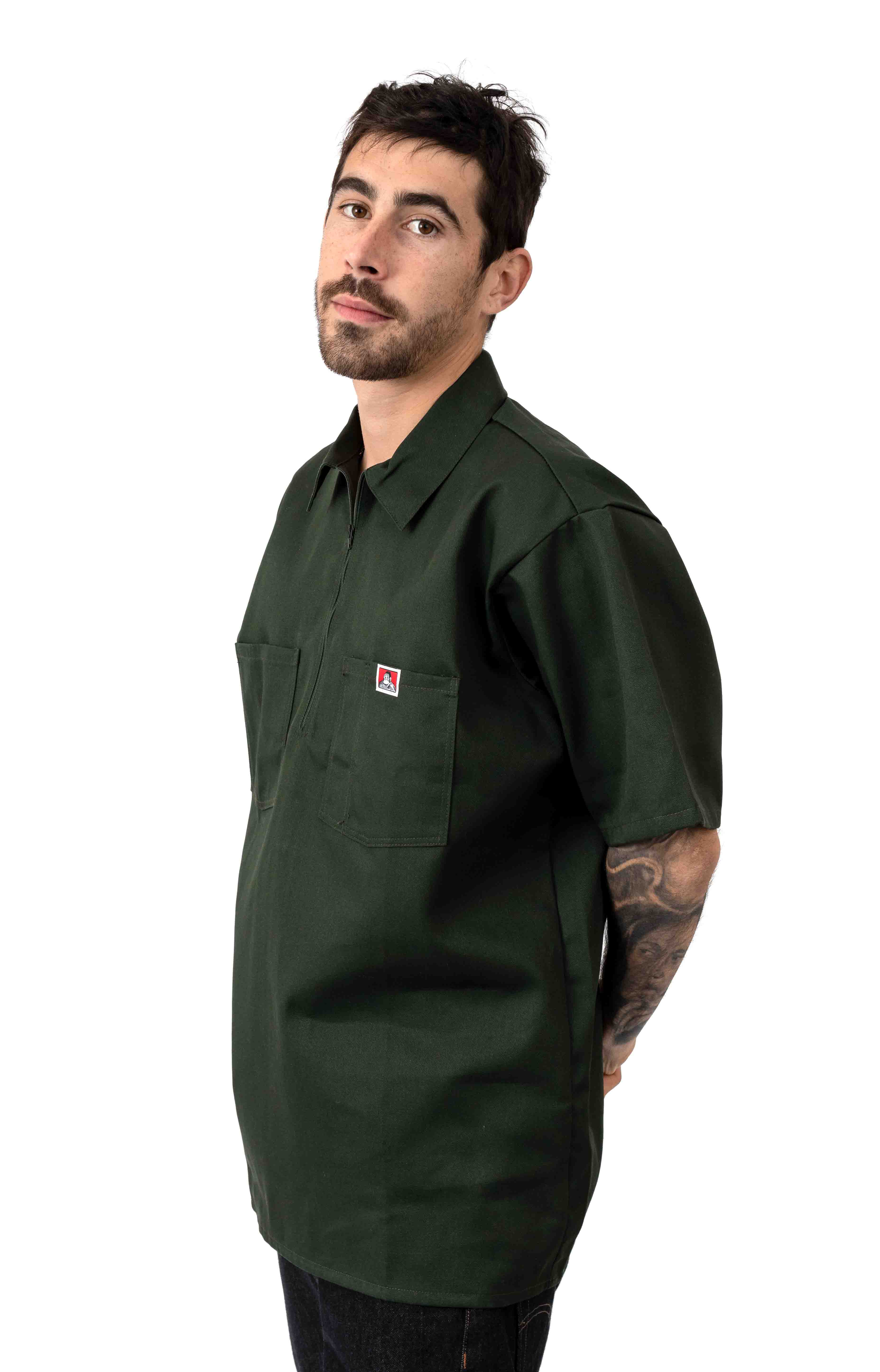 Short Sleeve Solid 1/2 Zip Shirt - Olive 2