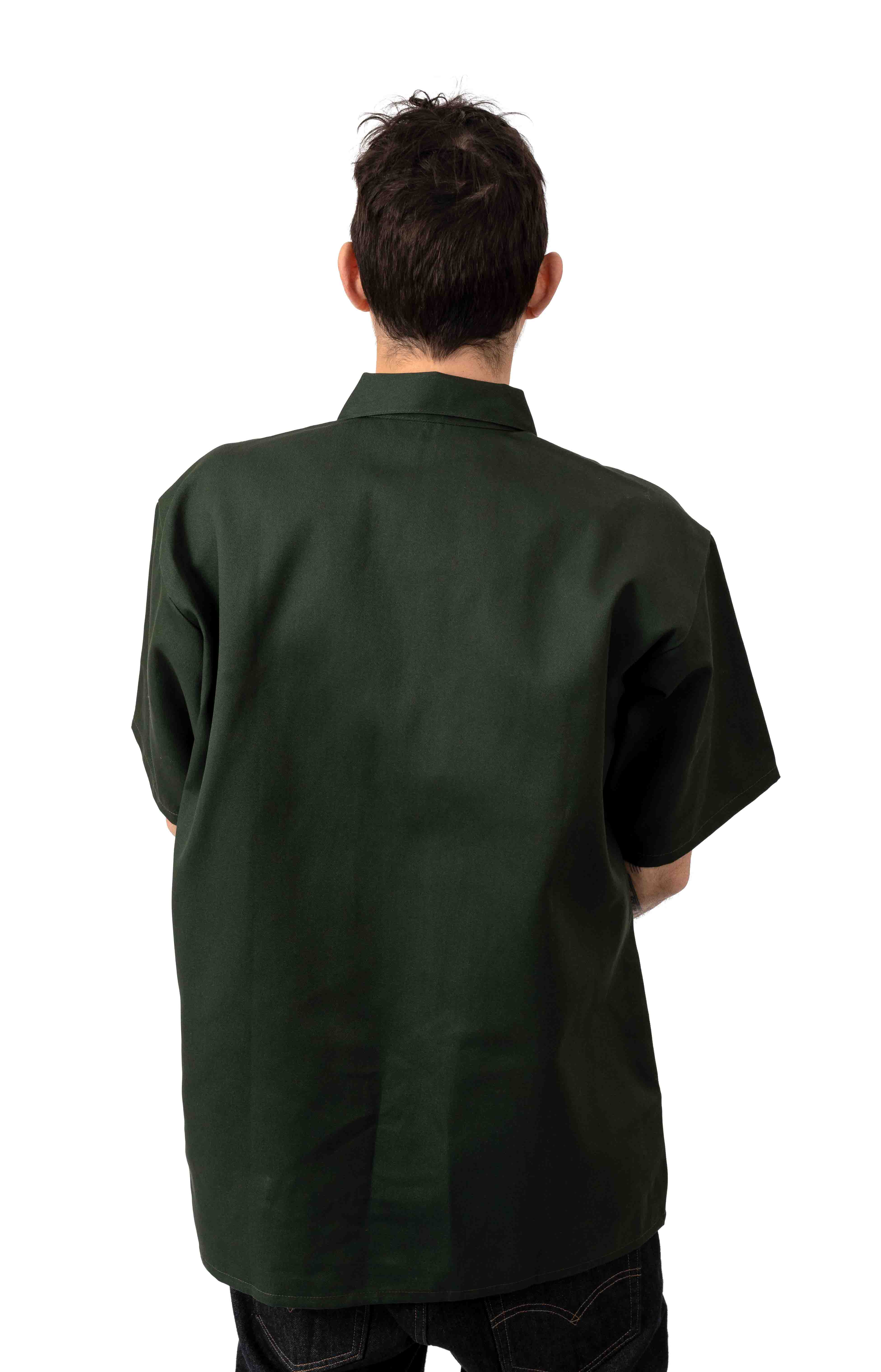 Short Sleeve Solid 1/2 Zip Shirt - Olive 3