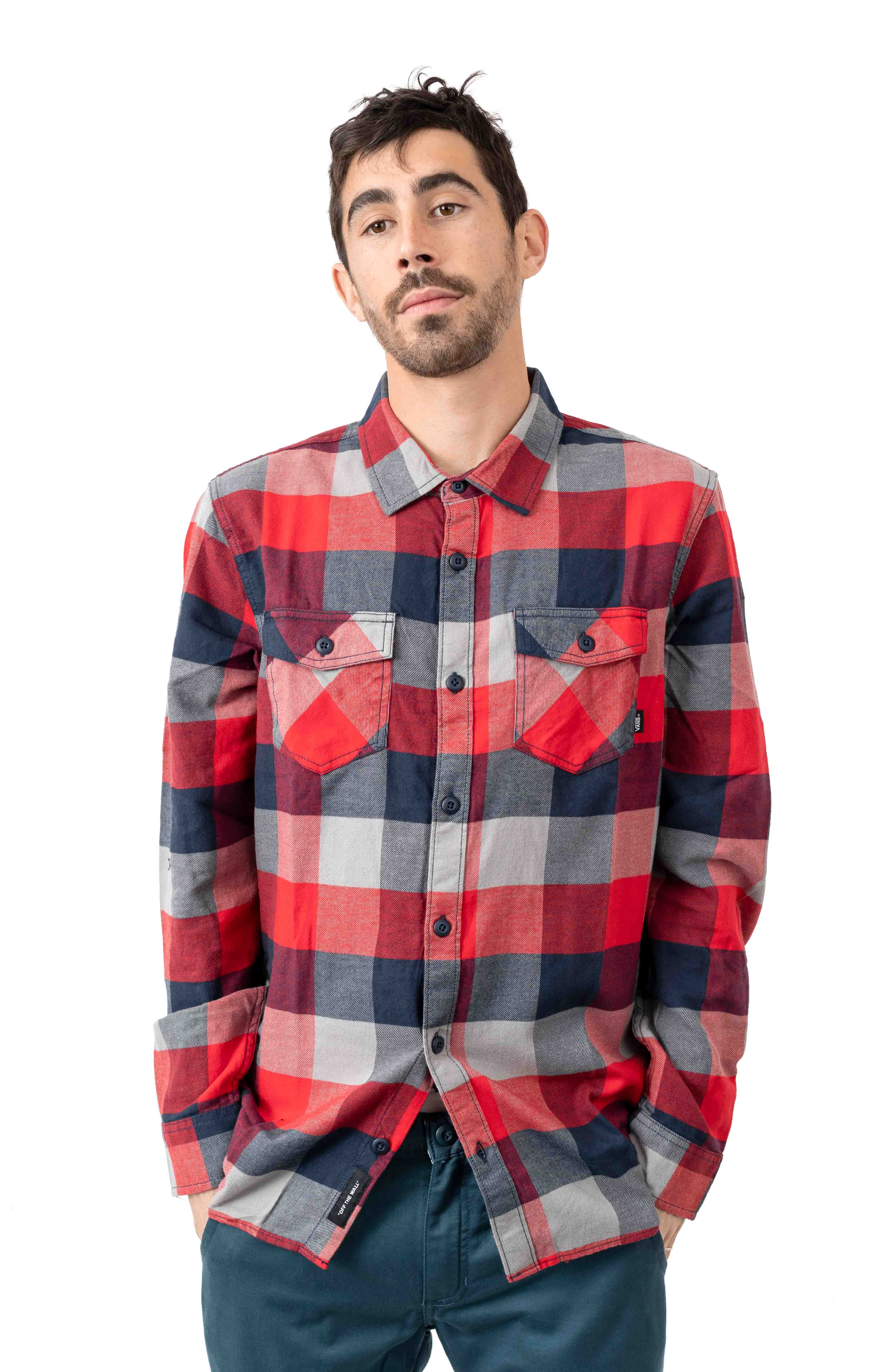 Box Flannel Button-Up Shirt - Racing Red