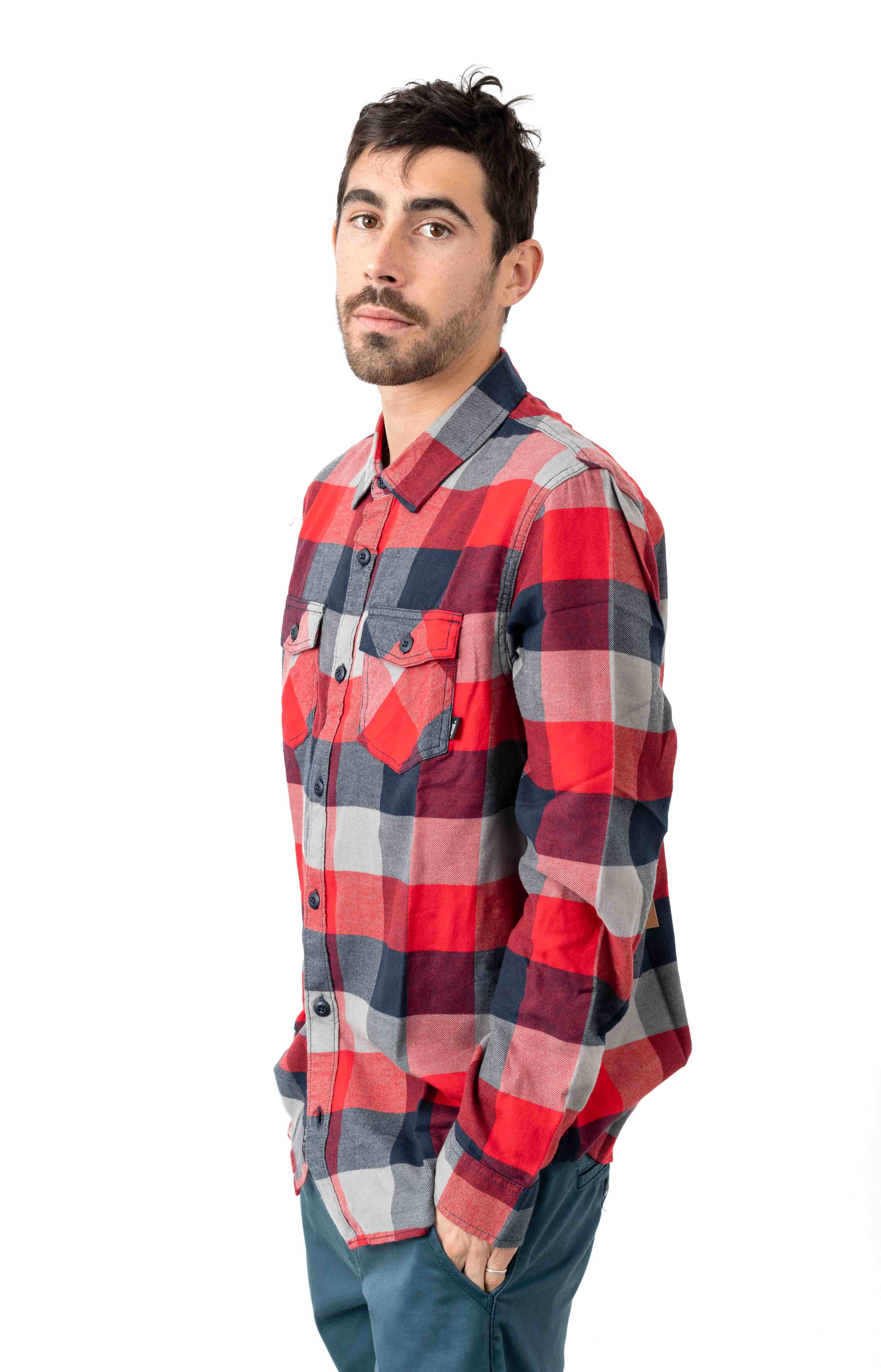 Box Flannel Button-Up Shirt - Racing Red 2