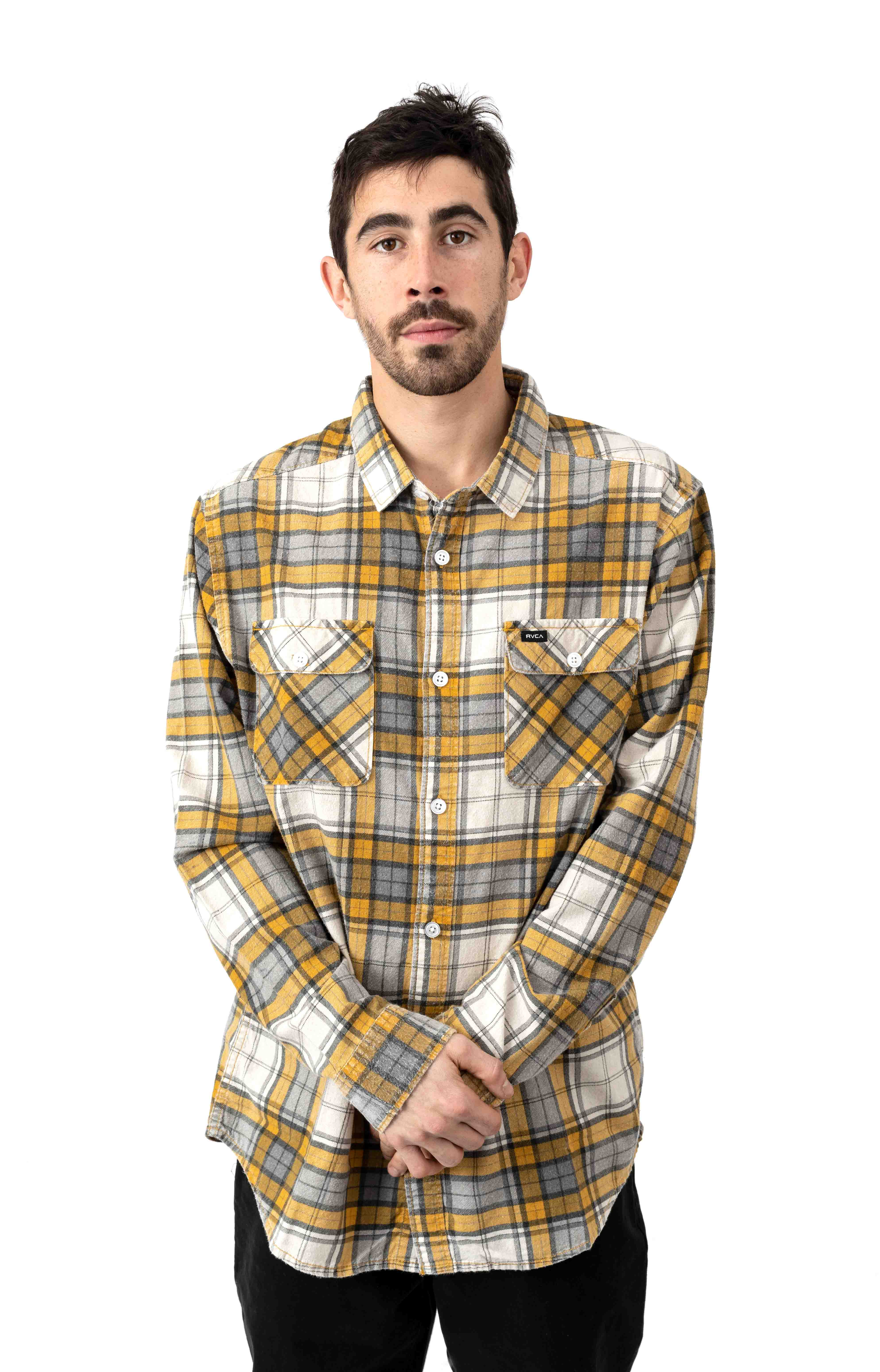 Panhandle Flannel Button-Up Shirt - Golden Yellow  2
