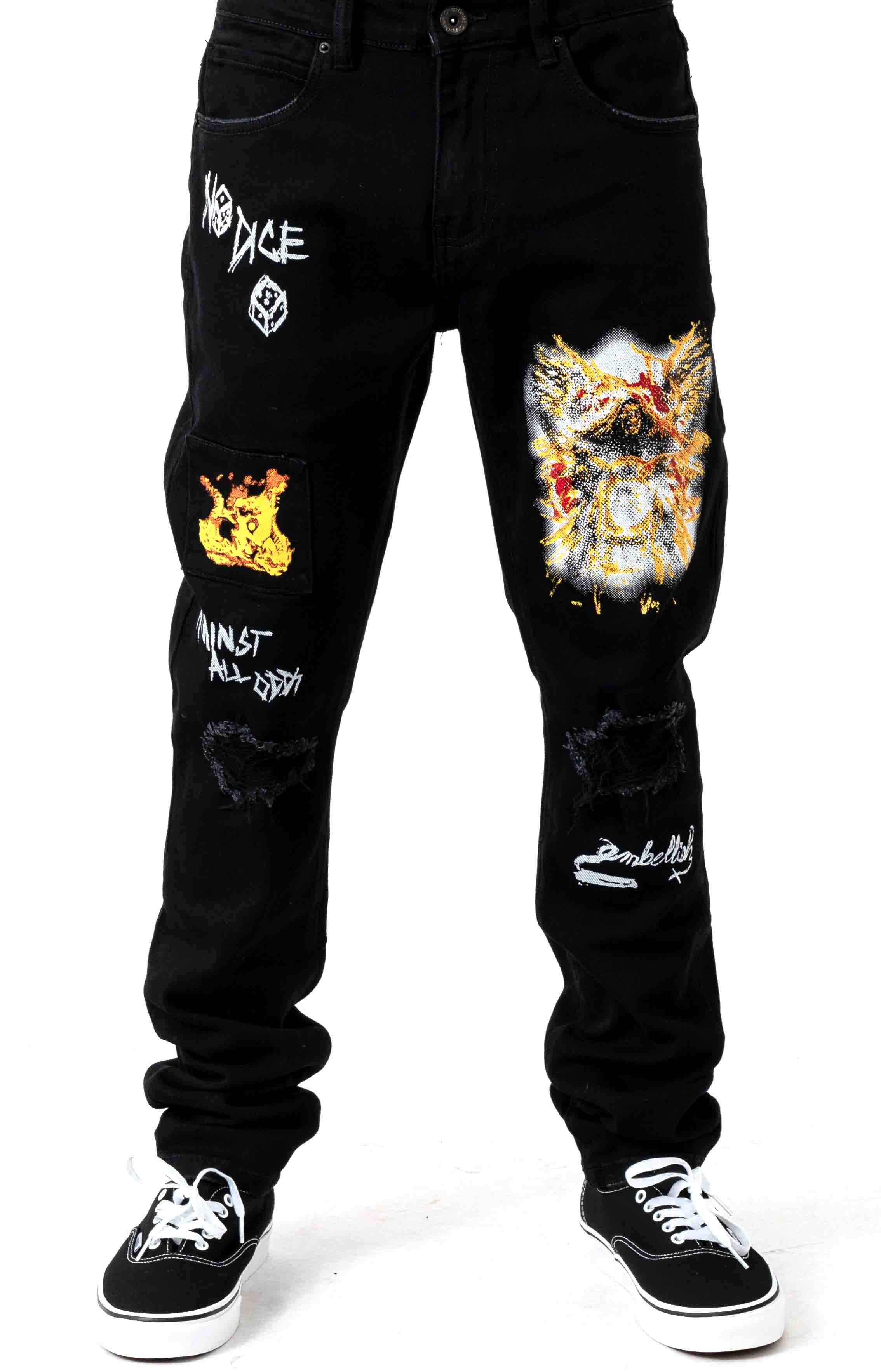 (CRYH19-140) Nowell Painted Denim Jeans - Black Painted 2