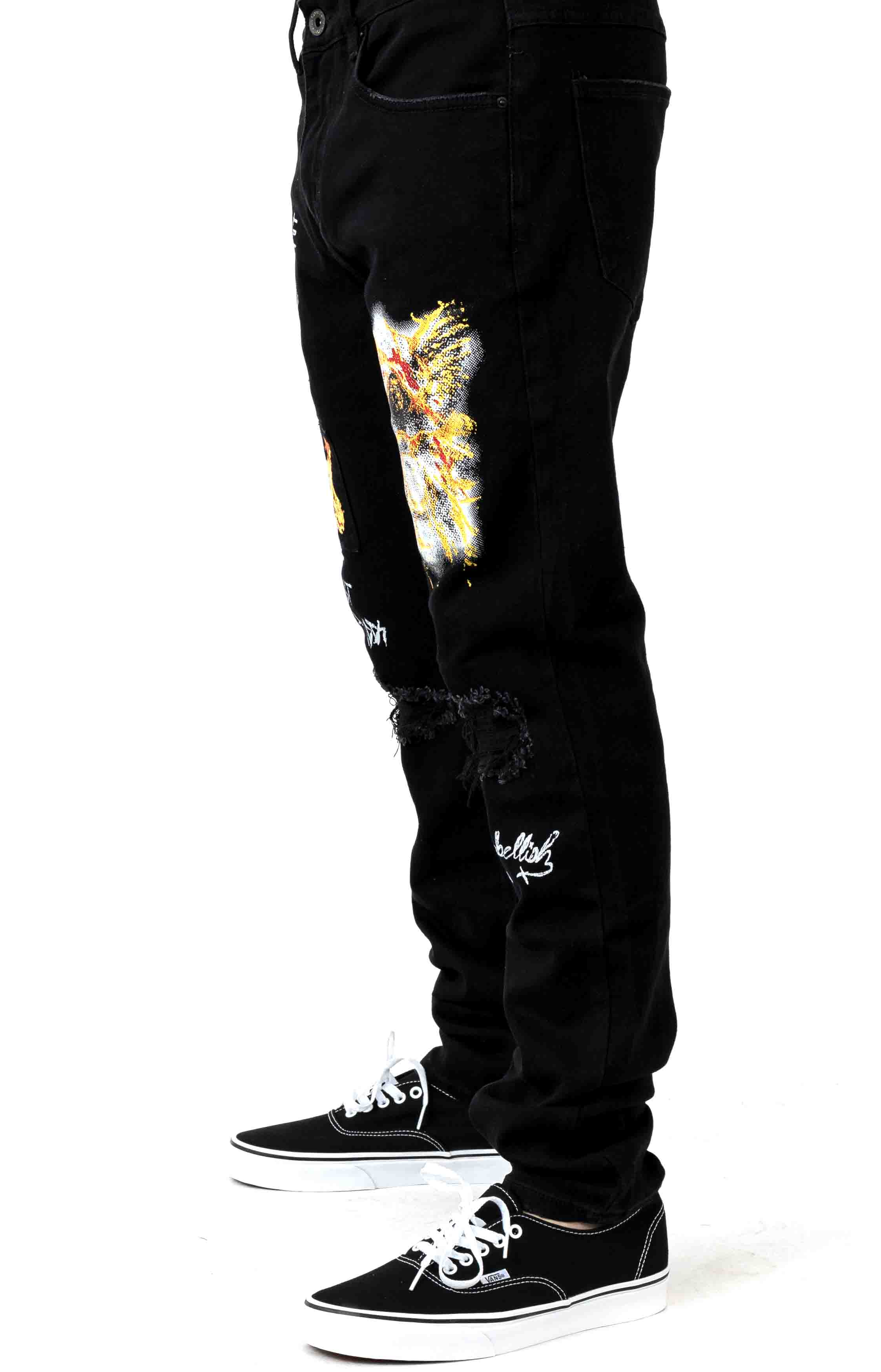 (CRYH19-140) Nowell Painted Denim Jeans - Black Painted