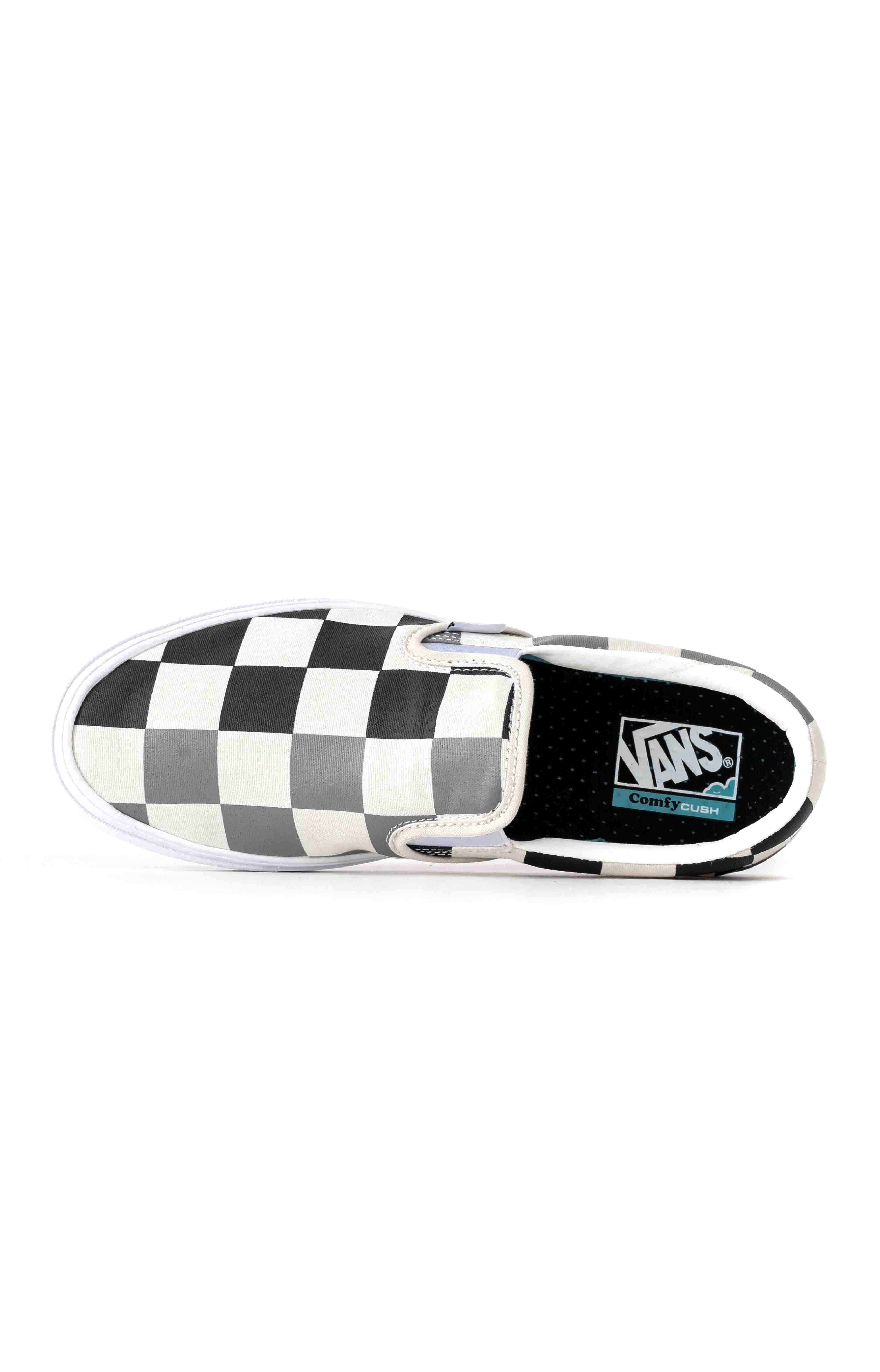 (WMDWXA) Half Big Checker ComfyCush Slip-On Shoe - Black/Grey 3