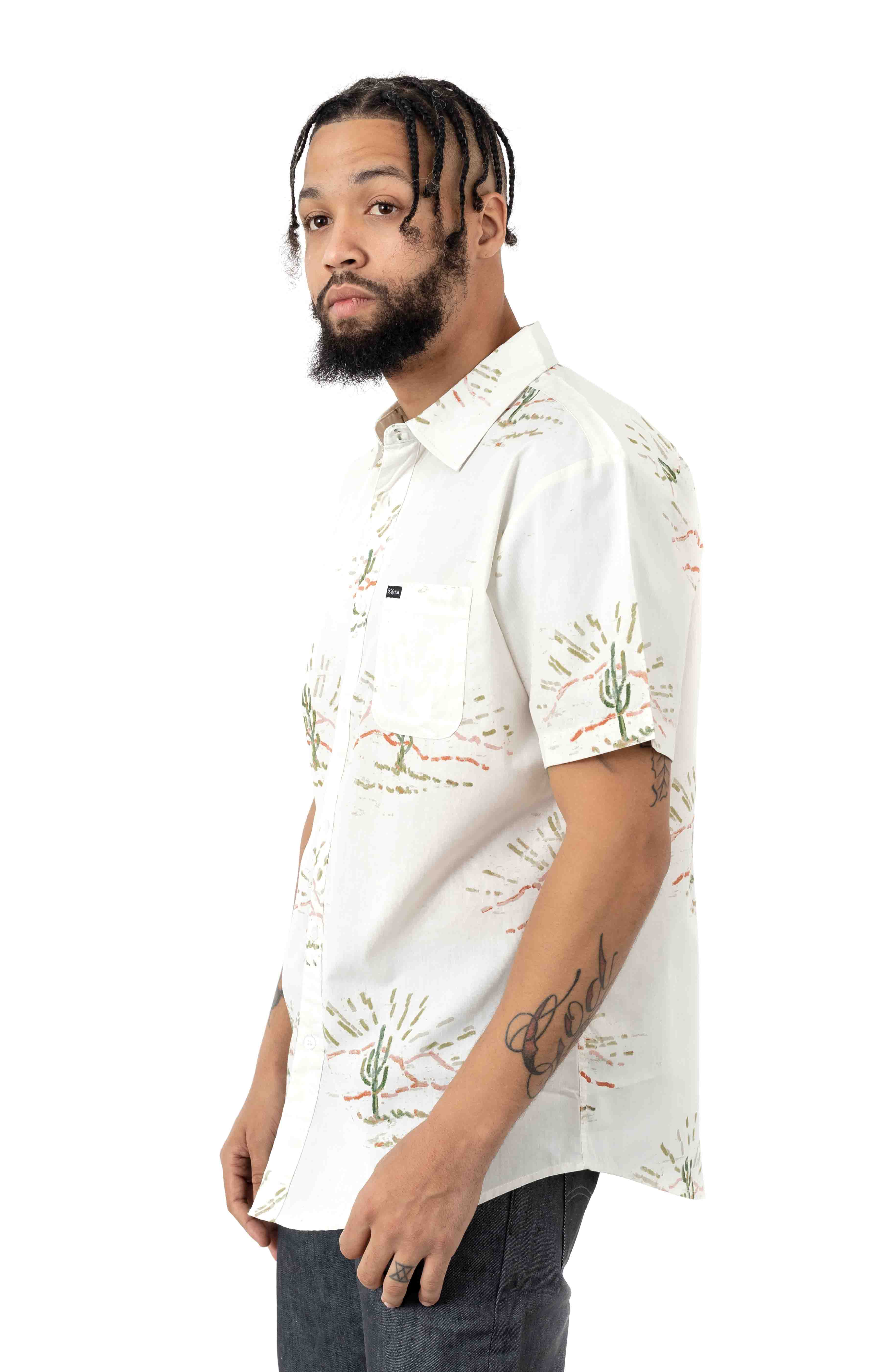 Charter Print S/S Button-Up Shirt - Dove 2