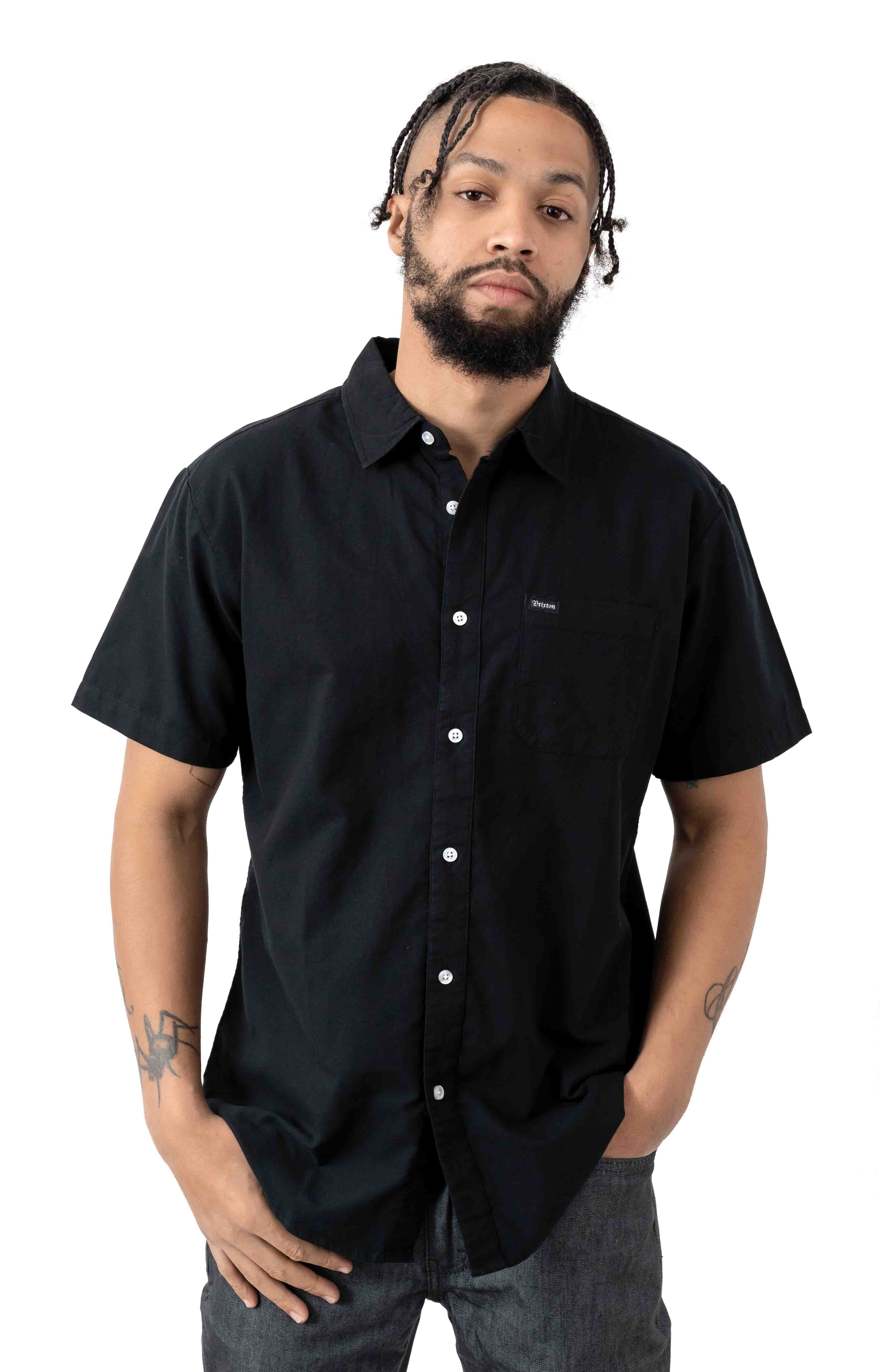 Charter Oxford S/S Button-Up Shirt - Black