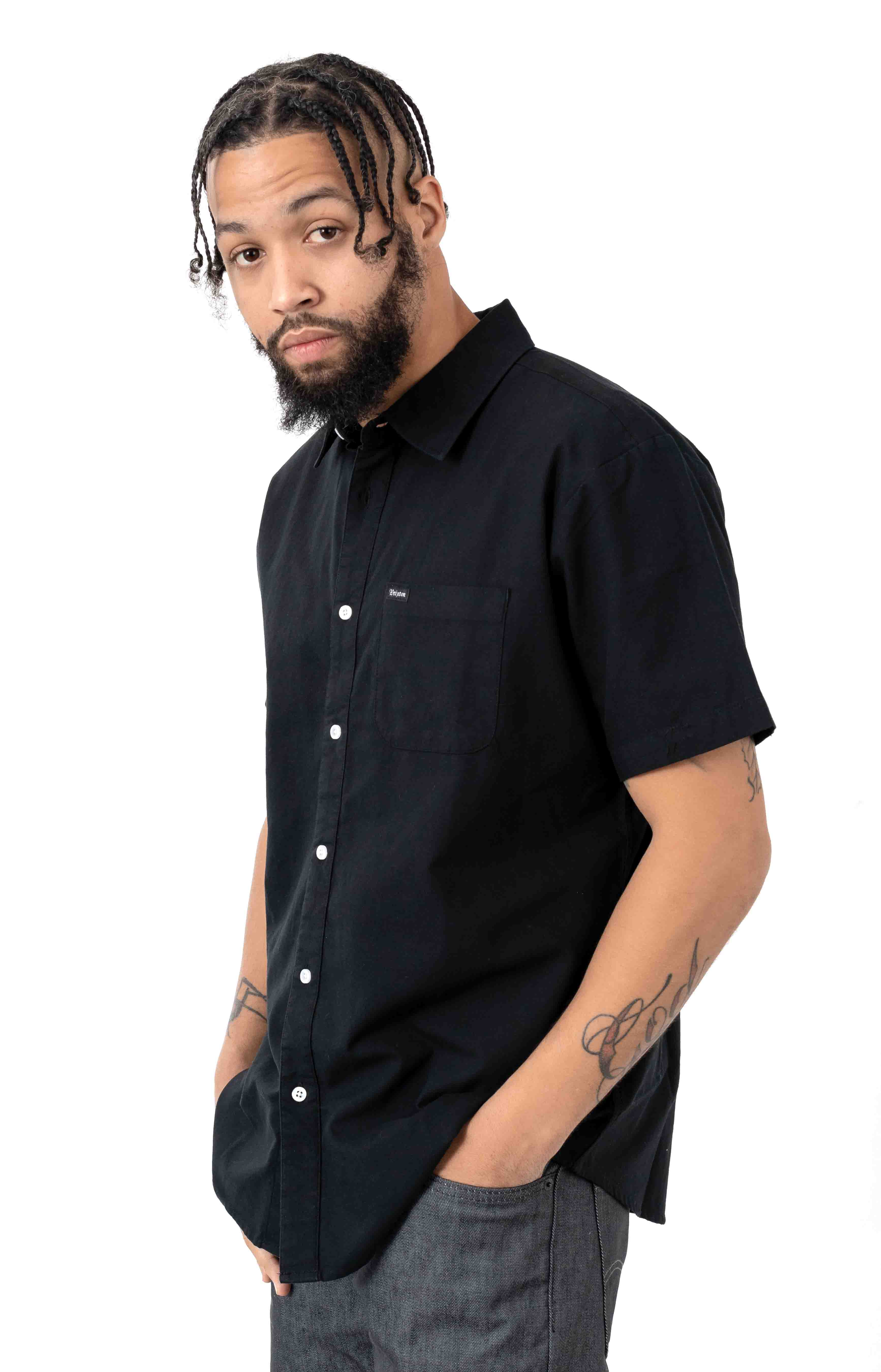 Charter Oxford S/S Button-Up Shirt - Black 2