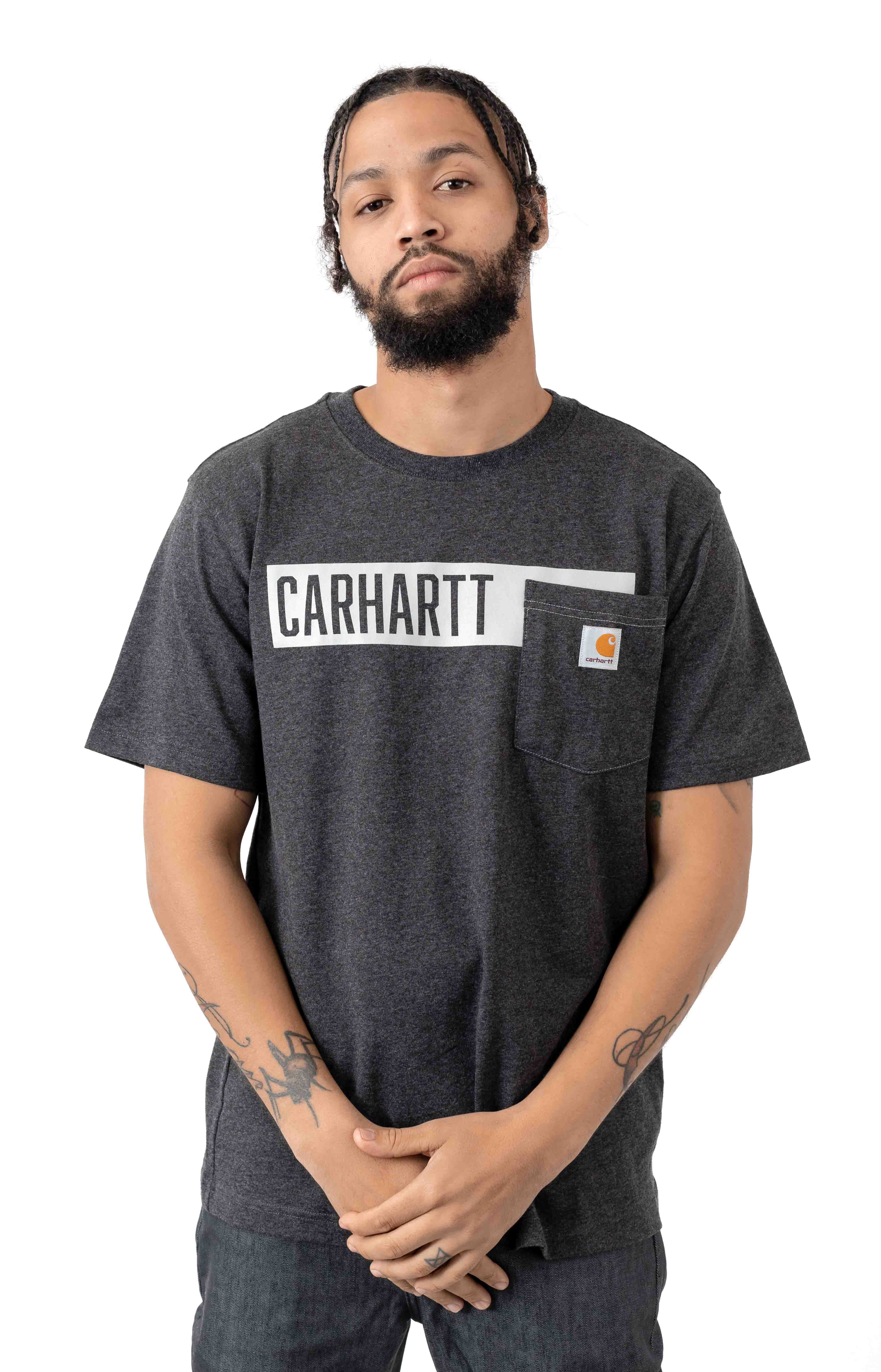 (104180) TK178-M Relaxed Fit HW Pocket Stripe Graphic T-Shirt - Carbon Heather