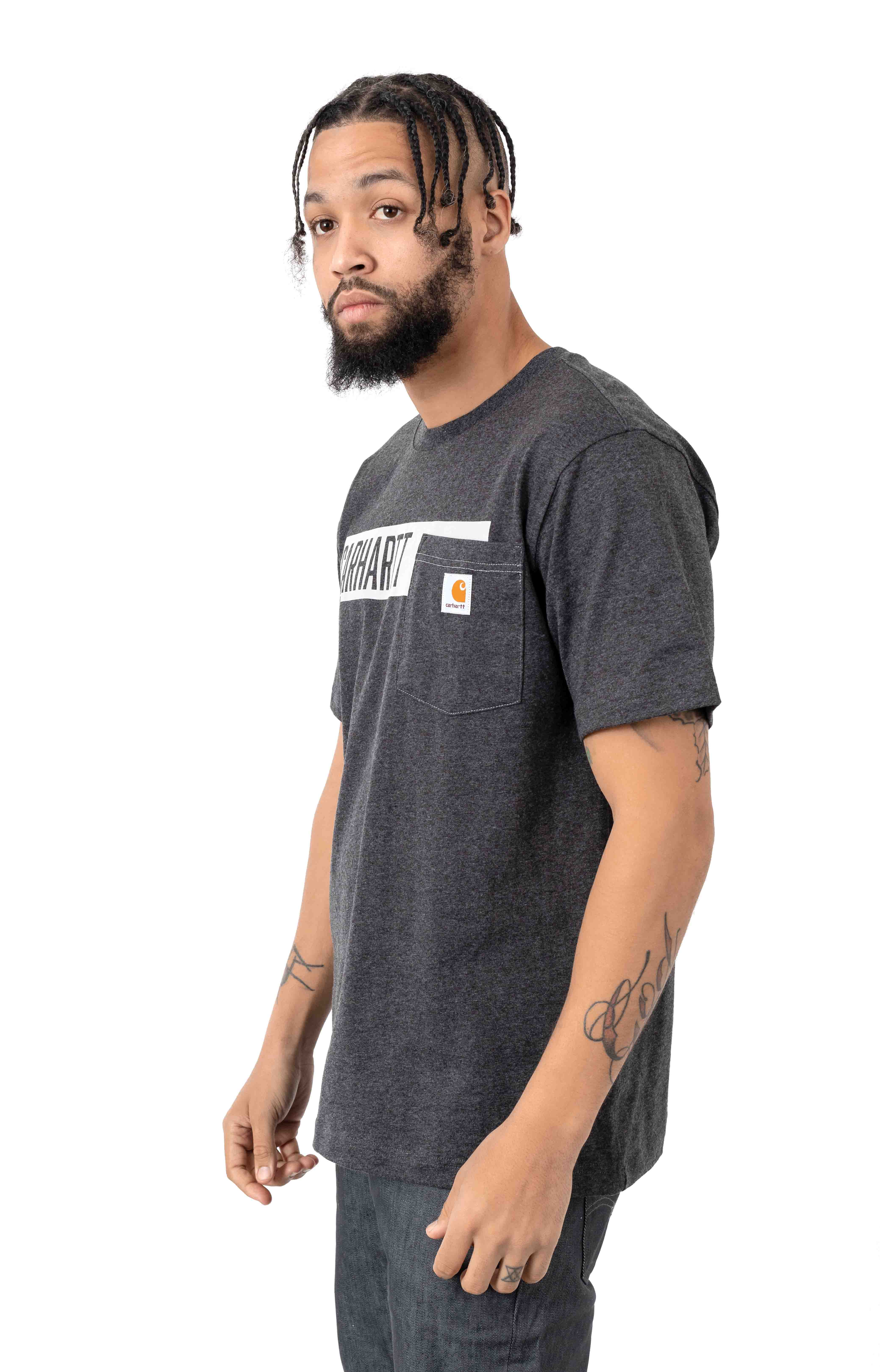 (104180) TK178-M Relaxed Fit HW Pocket Stripe Graphic T-Shirt - Carbon Heather  2