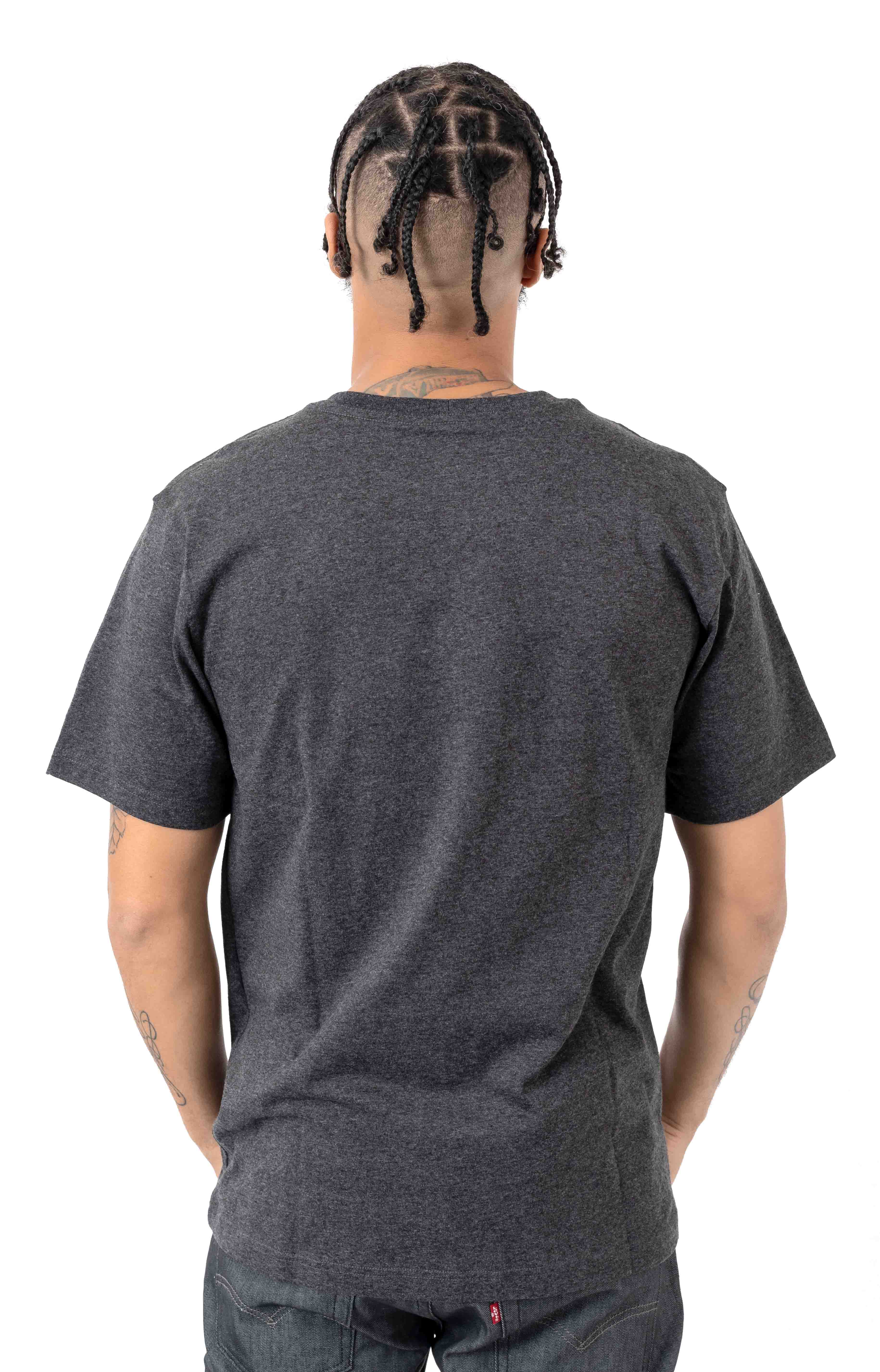 (104180) TK178-M Relaxed Fit HW Pocket Stripe Graphic T-Shirt - Carbon Heather  3
