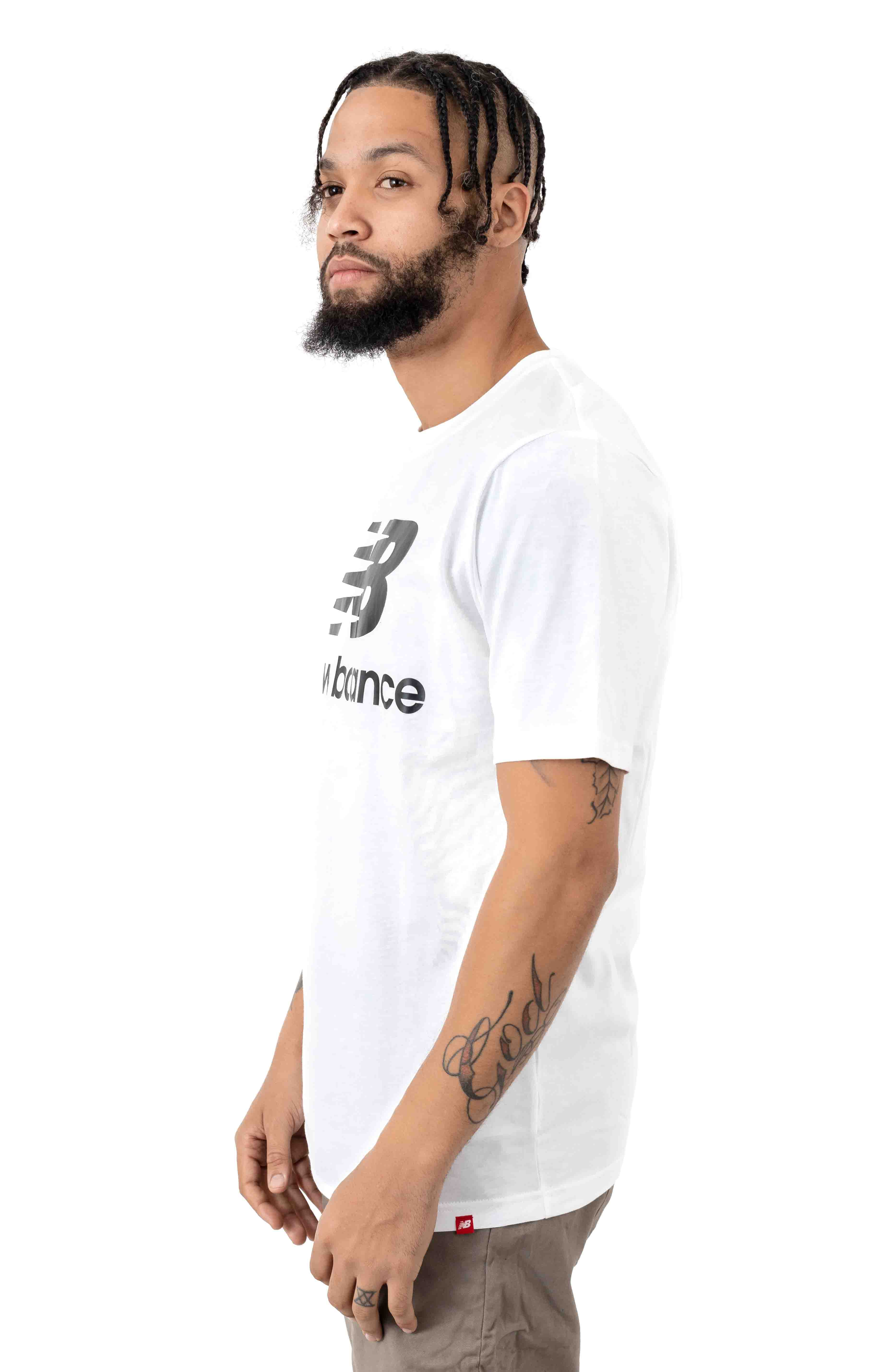 Essentials Stack Logo T-Shirt - White/Black 2