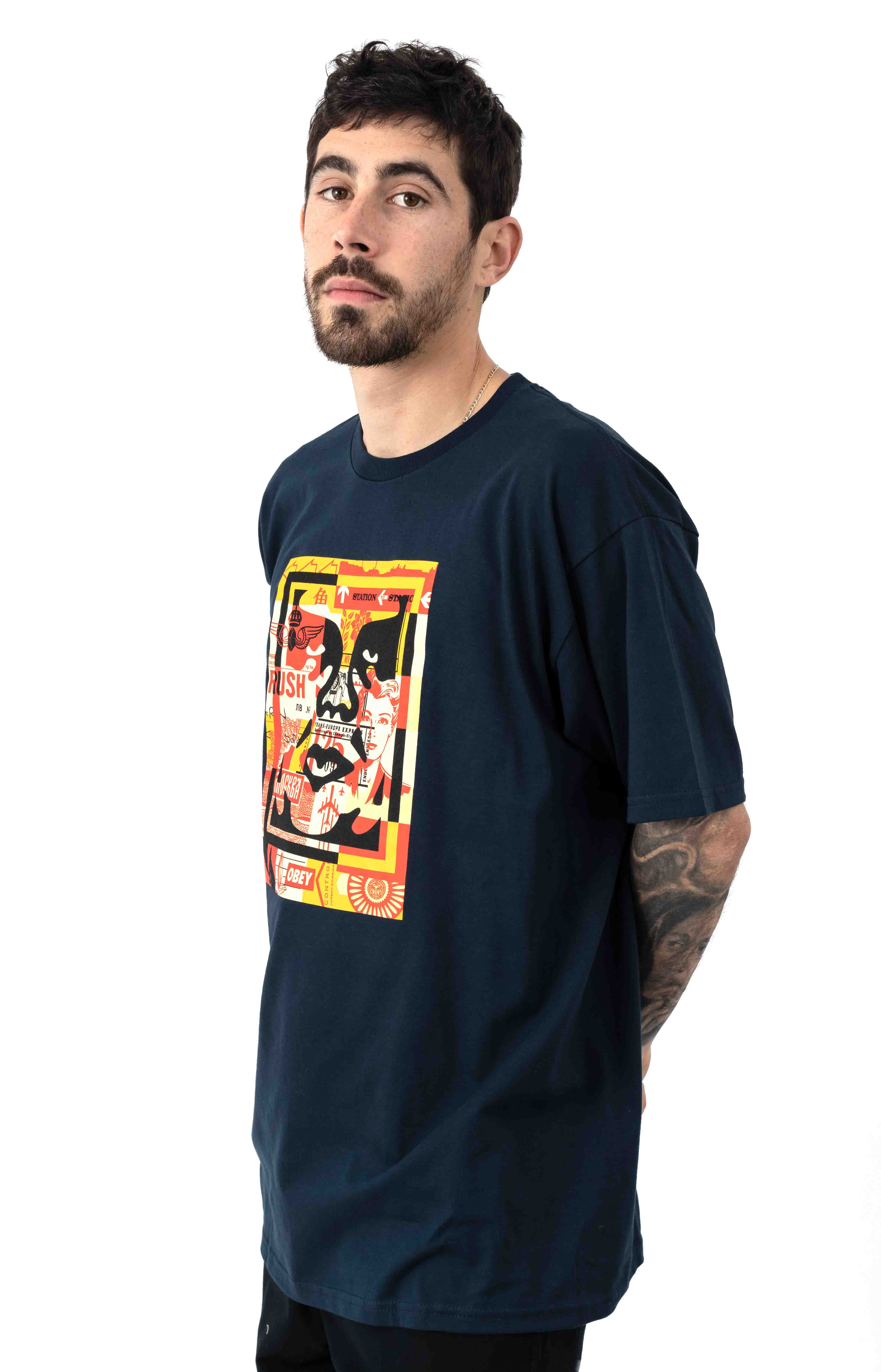 Obey 3 Face Collage T-Shirt - Navy 2
