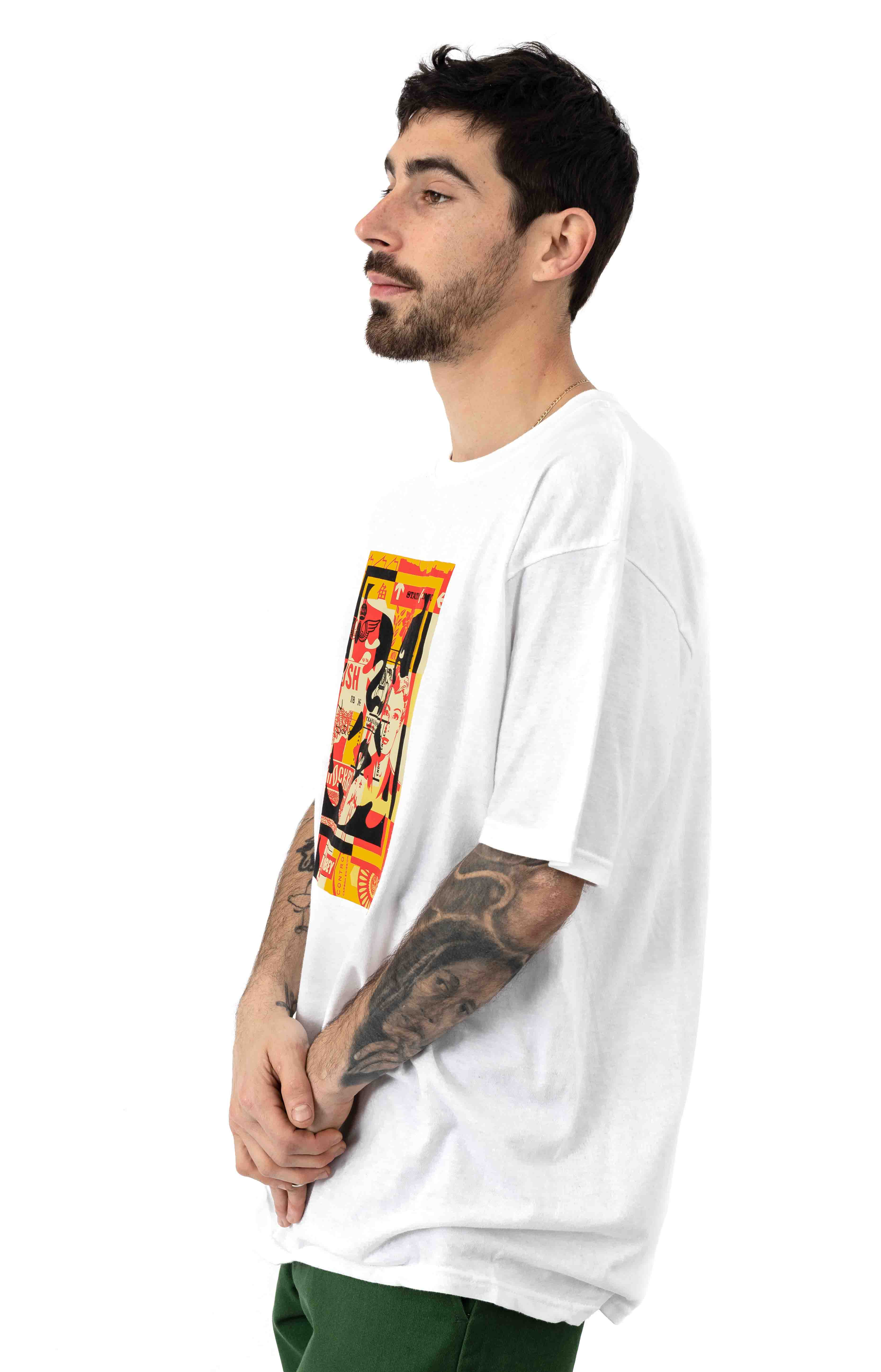 Obey 3 Face Collage T-Shirt - White  2