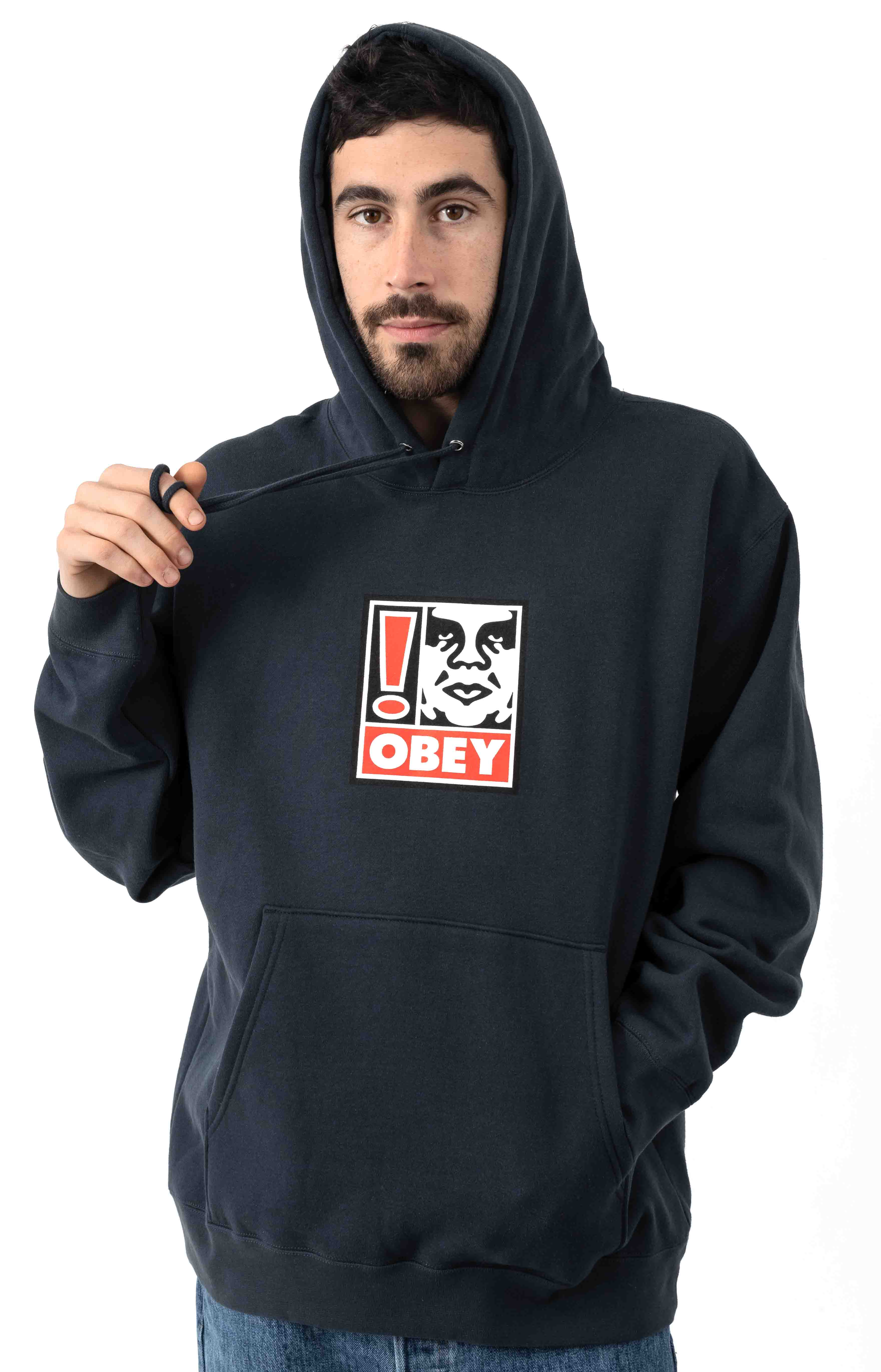 Exclamation Point Pullover Hoodie - Slate Blue