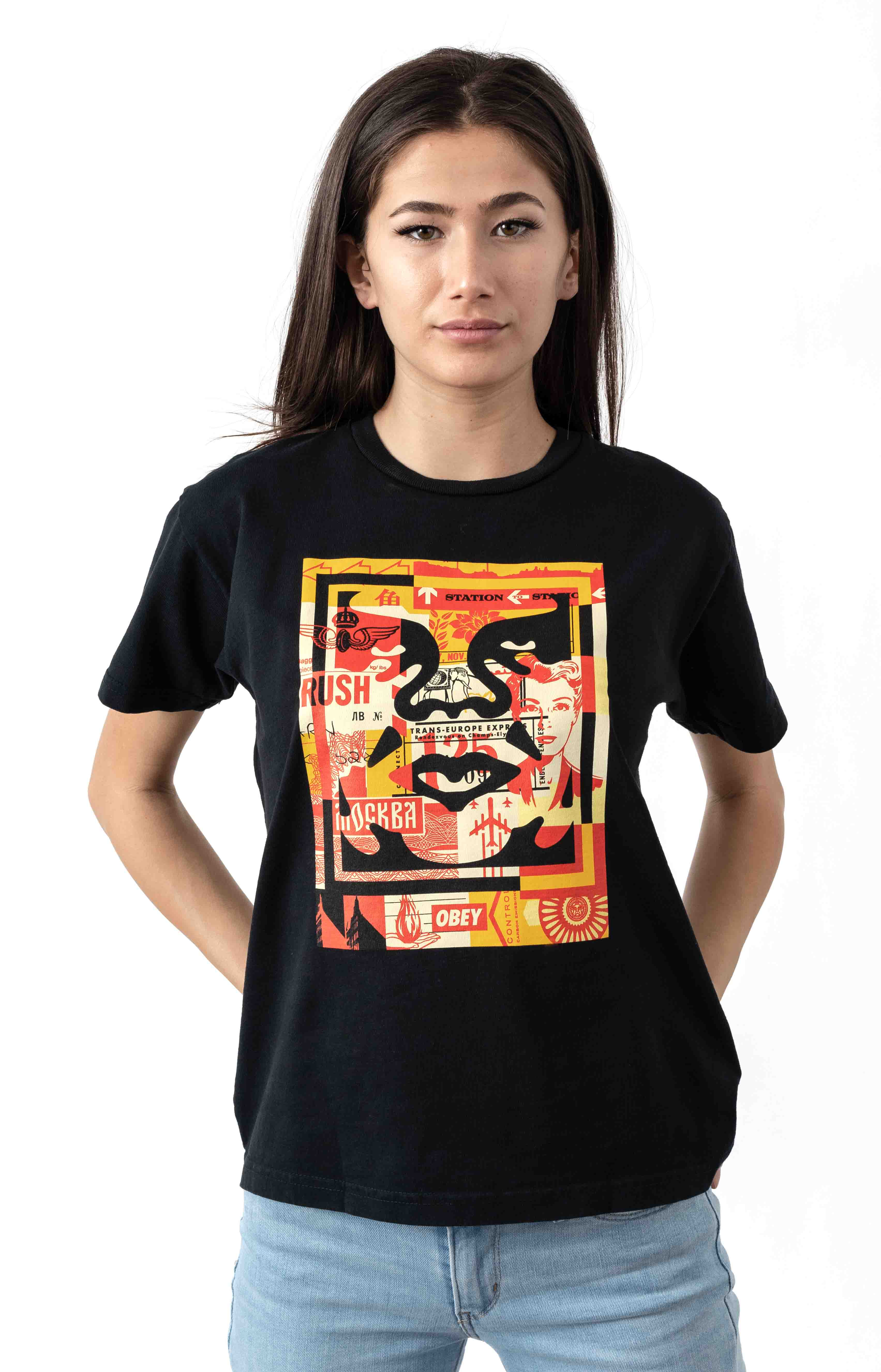 3 Face Collage T-Shirt - Off Black
