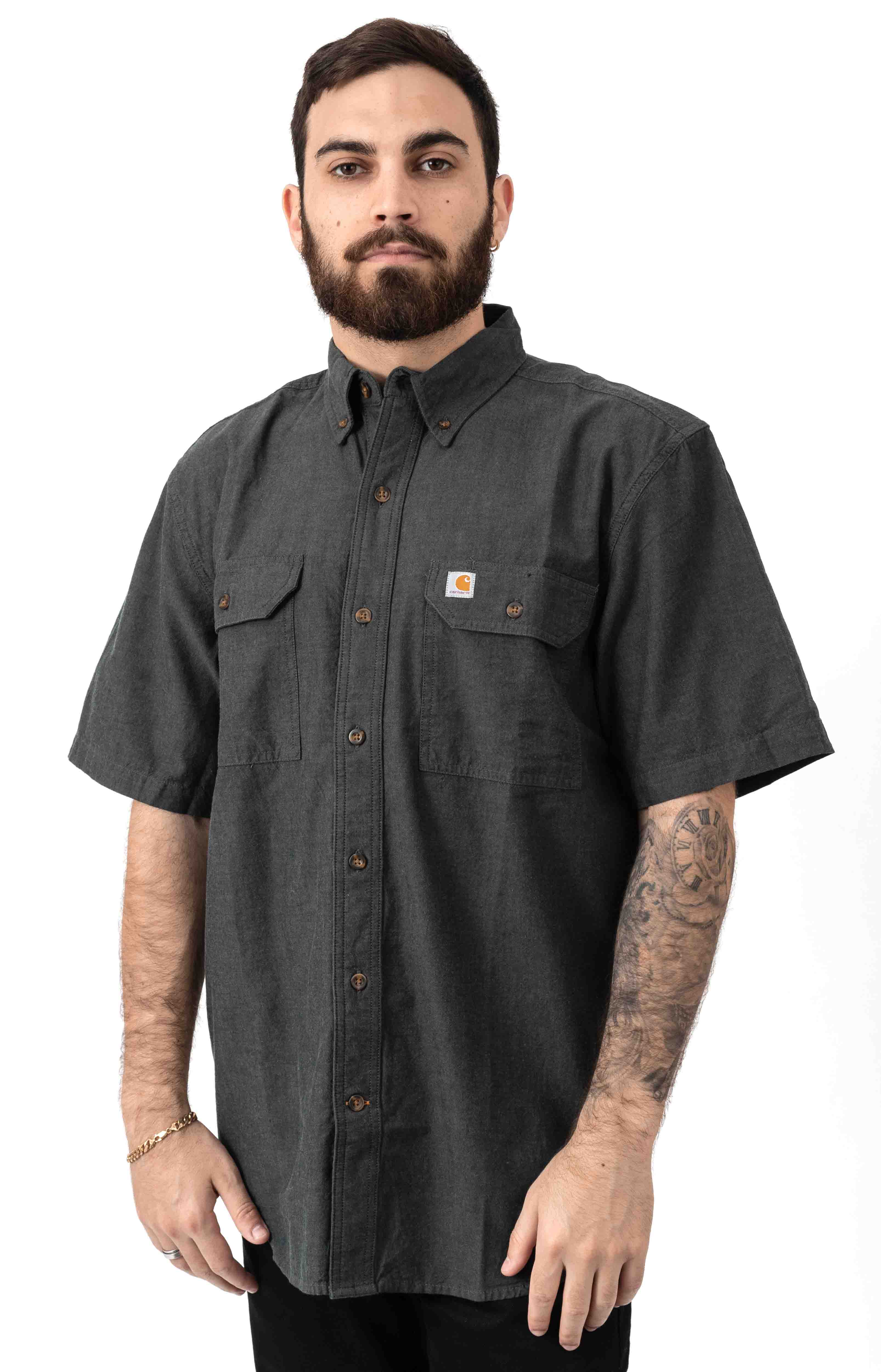 (104369) Original Fit MW S/S Button-Up Shirt - Black Chambray  2